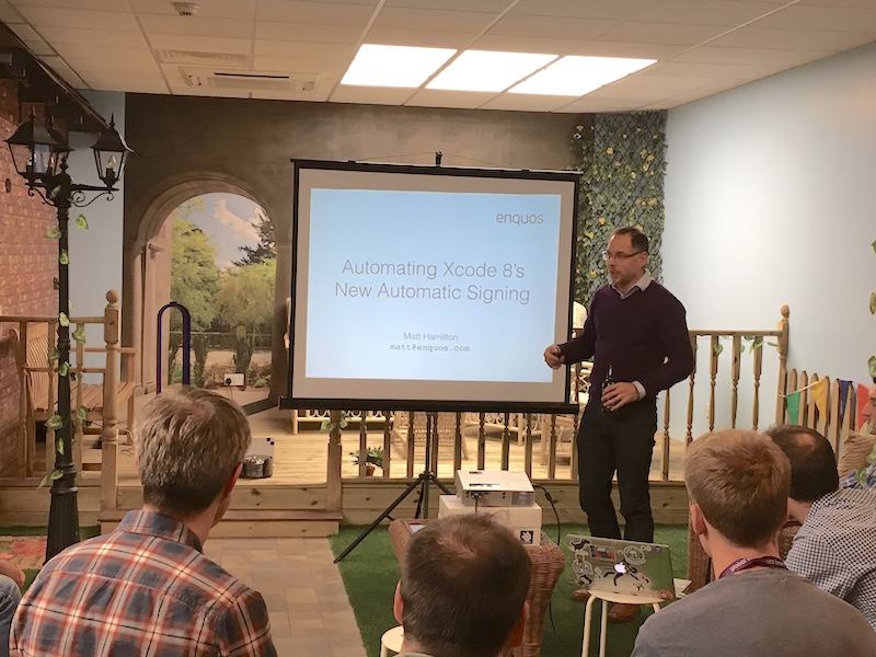 Picture of Matt speaking at SWMobile meetup