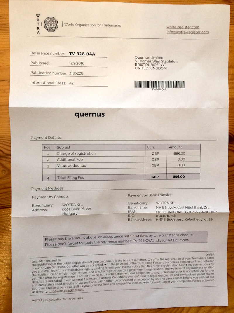 Photo of scam letter from WOTRA